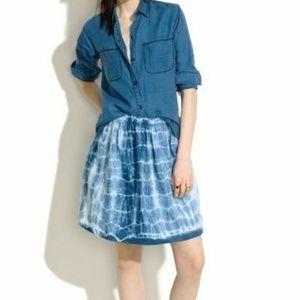 Madewell Indigo Blue Linen Skirt Size 0